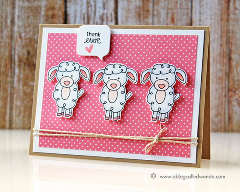 Thank you Sheep Card | Farmyard Friends | 4x6 photopolymer Stamp Set | ©2015 Newton's Nook Designs