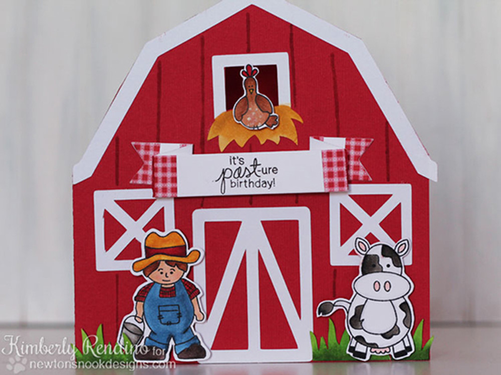 Farmyard Belated Birthday Card | Farmyard Friends | 4x6 photopolymer Stamp Set | ©2015 Newton's Nook Designs