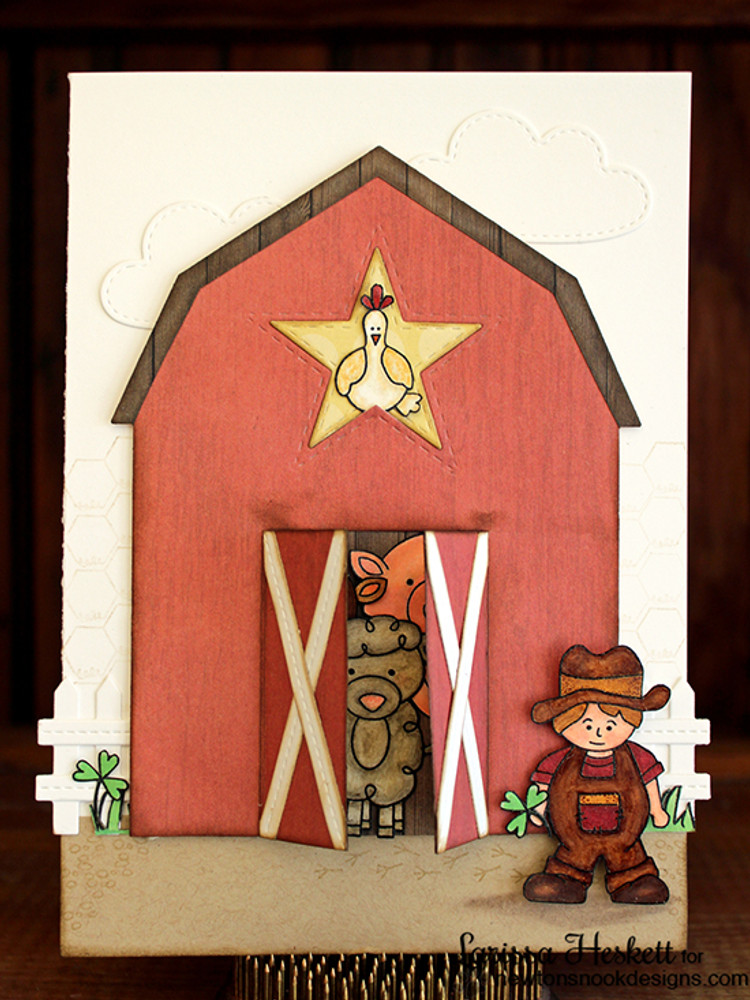 Farm Card | Farmyard Friends | 4x6 photopolymer Stamp Set | ©2015 Newton's Nook Designs