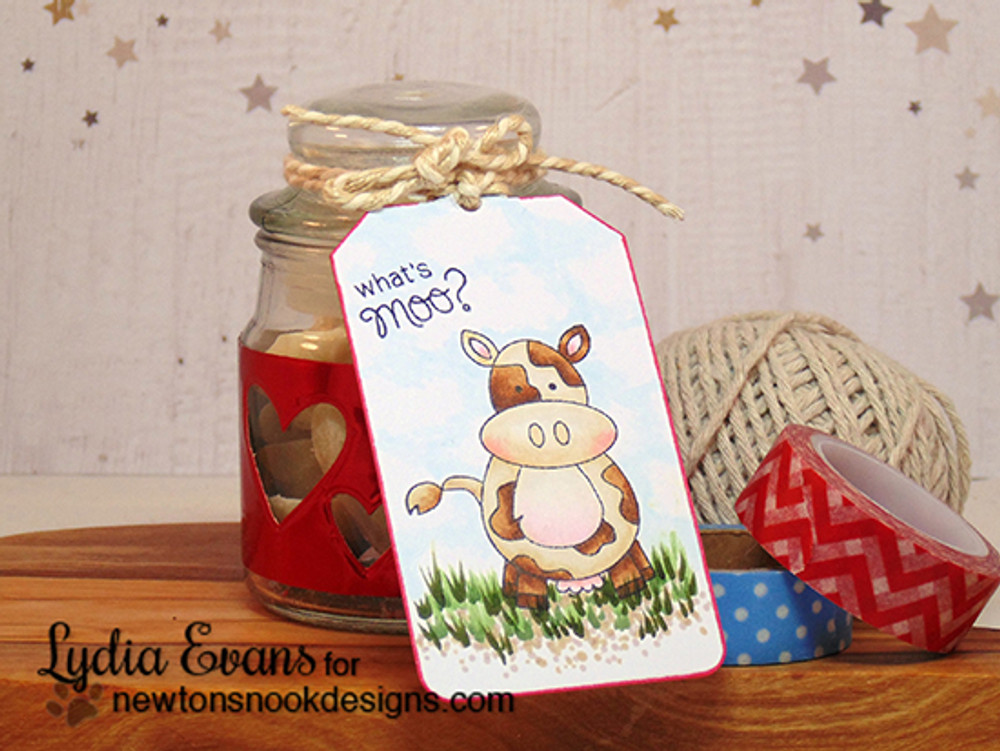 Whats Moo Cow Tag | Farmyard Friends | 4x6 photopolymer Stamp Set | ©2015 Newton's Nook Designs