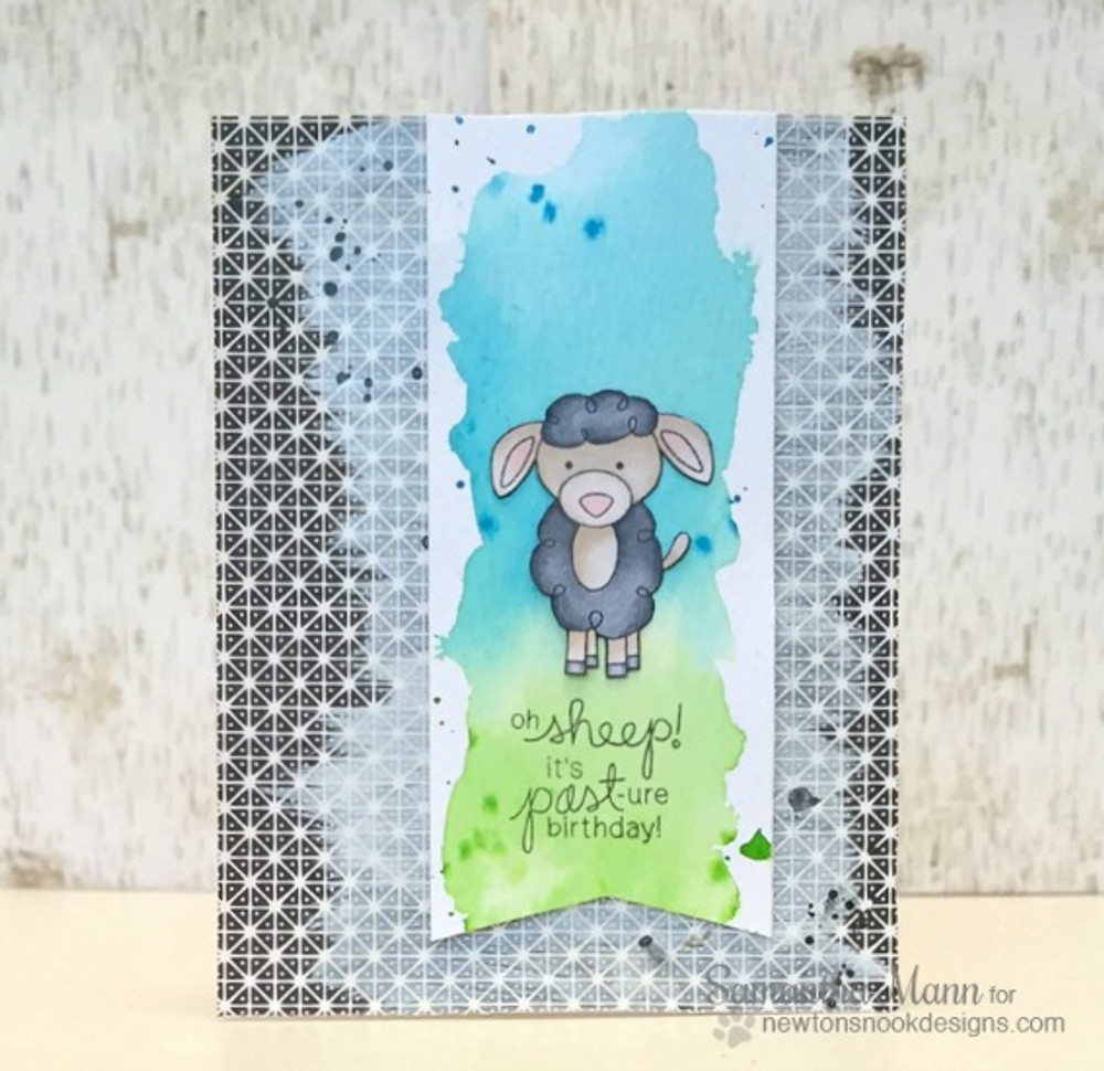 Belated Birthday Sheep Card | Farmyard Friends | 4x6 photopolymer Stamp Set | ©2015 Newton's Nook Designs