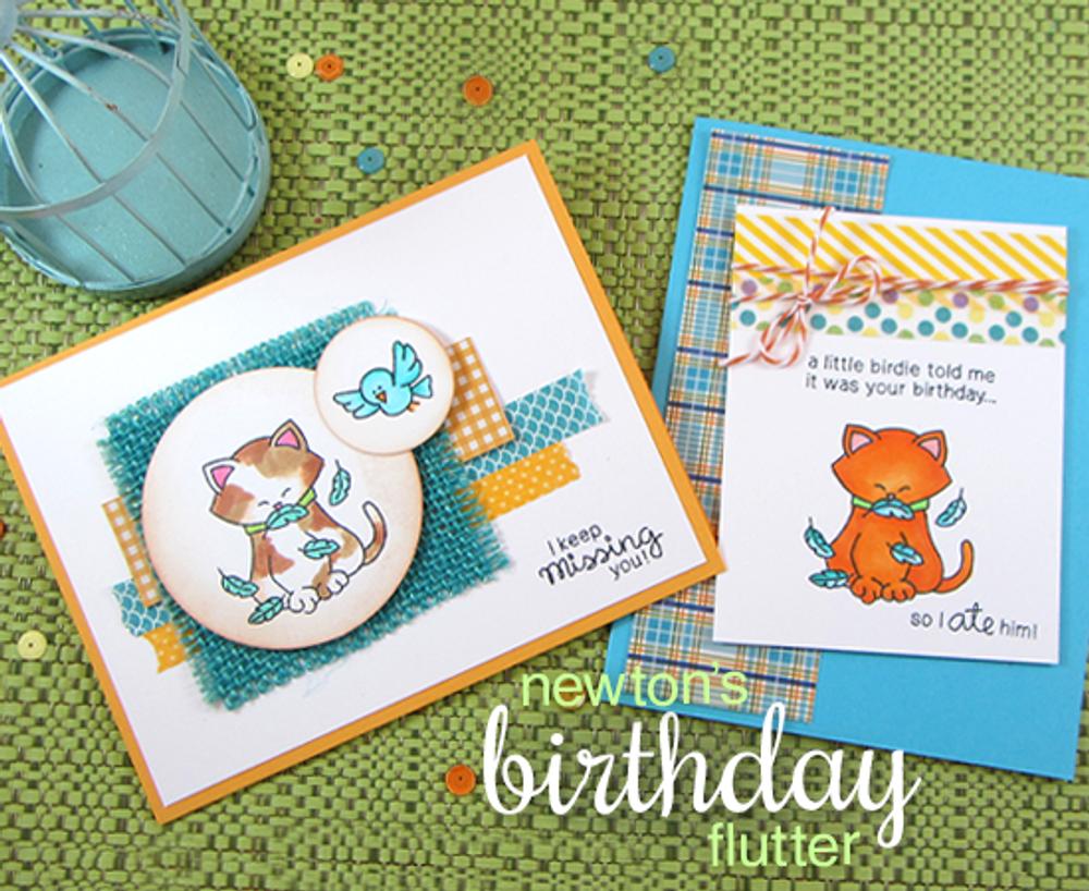Newton's Birthday Flutter   3x4 Photopolymer Stamp Set   © 2015 Newton's Nook Designs