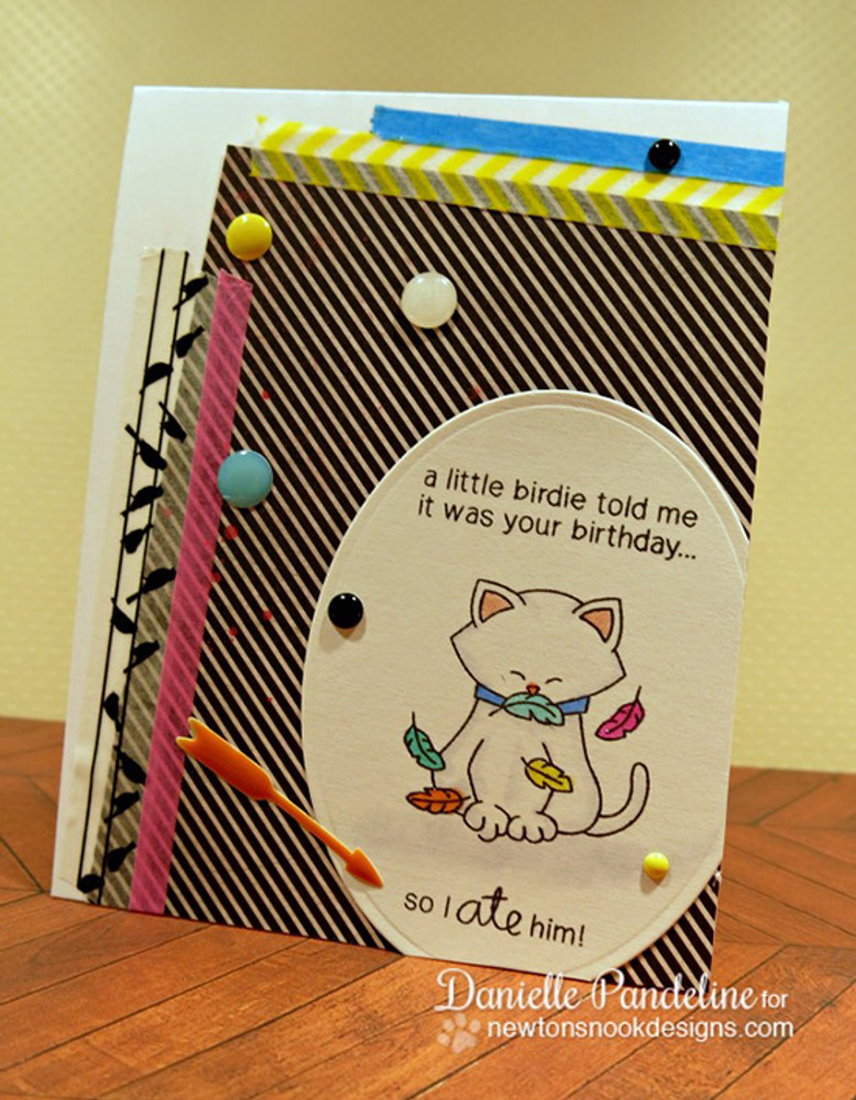 Birthday Cat Card | Newton's Birthday Flutter | 3x4 photopolymer Stamp Set |  © 2015 Newton's Nook Designs