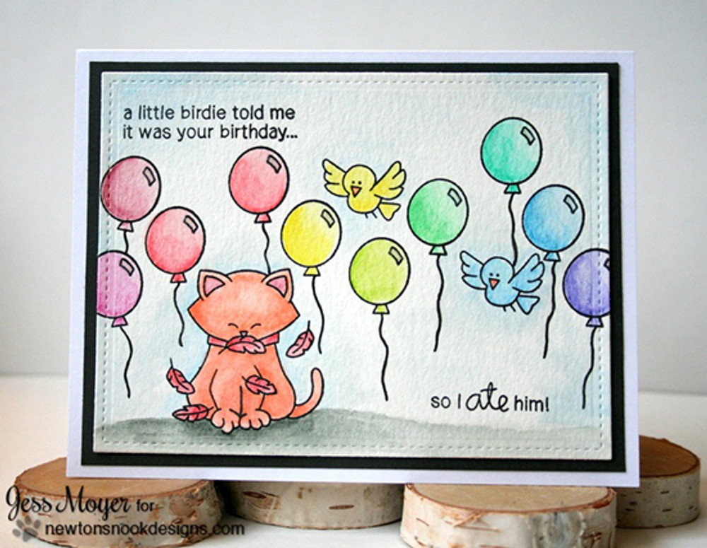 Birthday Cat and Bird Card | Newton's Birthday Flutter | 3x4 photopolymer Stamp Set | © 2015 Newton's Nook Designs