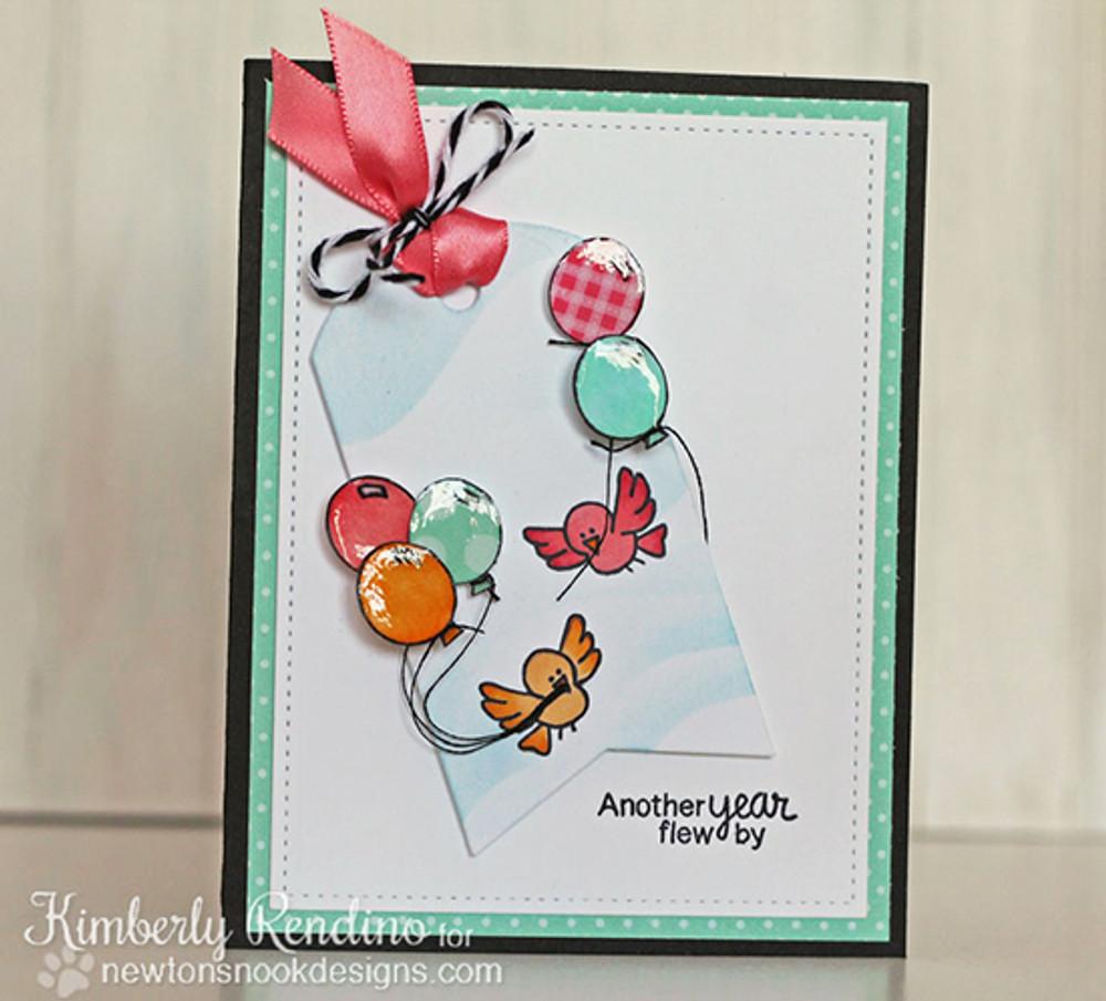 Birthday Bird Card   Newton's Birthday Flutter   3x4 photopolymer Stamp Set    © 2015 Newton's Nook Designs