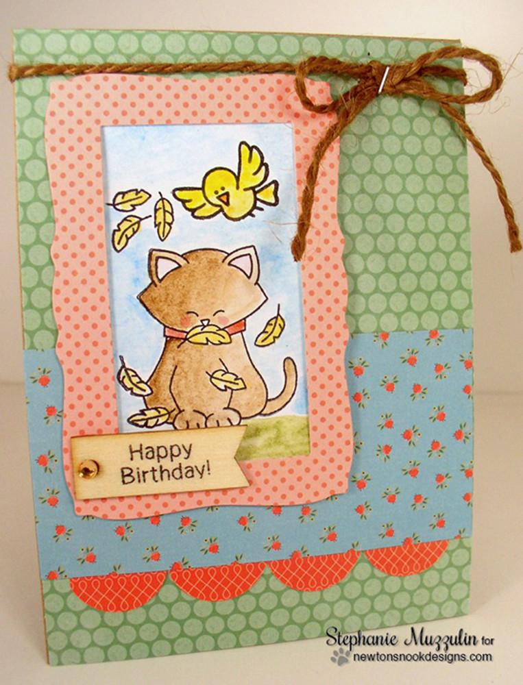 Birthday Cat Card   Newton's Birthday Flutter   3x4 photopolymer Stamp Set   ©2015 Newton's Nook Designs