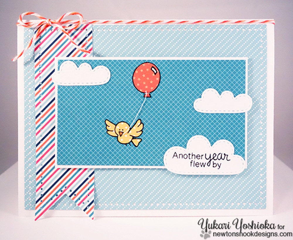 Birthday Bird Card   Newton's Birthday Flutter   3x4 photopolymer Stamp Set   ©2015 Newton's Nook Designs
