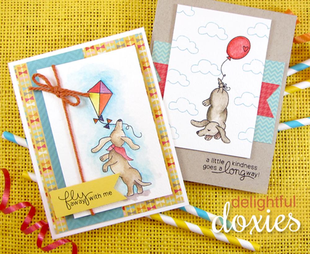 Dachshund Friendship Cards | Delightful Doxies | 4x6 photopolymer Stamp Set | © 2015 Newton's Nook Designs