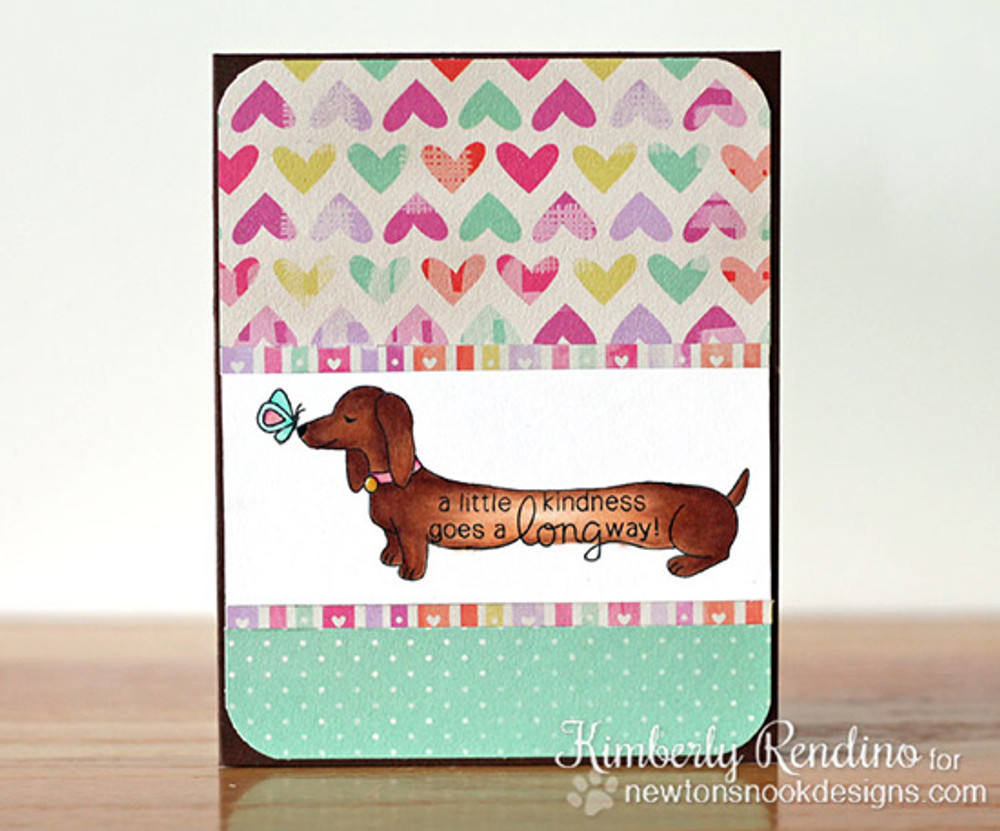 Dachshund Kindness Card | Delightful Doxies | 4x6 photopolymer Stamp Set | © 2015 Newton's Nook Designs