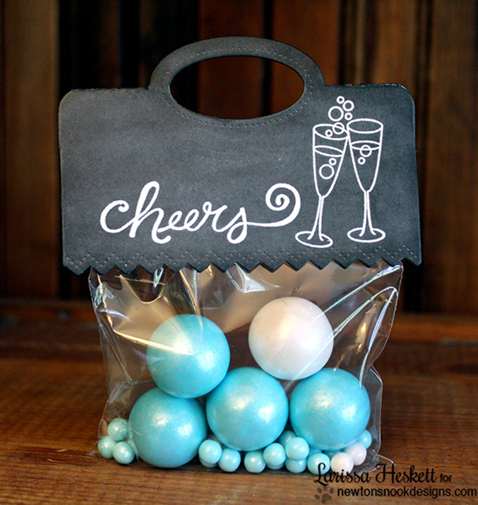 Cheers party gift bag | Years of Cheers | 3x4 photopolymer Stamp Set | © 2015 Newton's Nook Designs