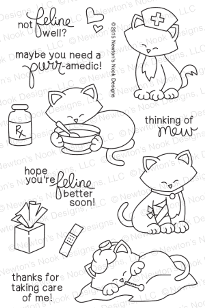 Newton's Sick Day | 4x6 Photopolymer Stamp Set | © 2015 Newton's Nook Designs