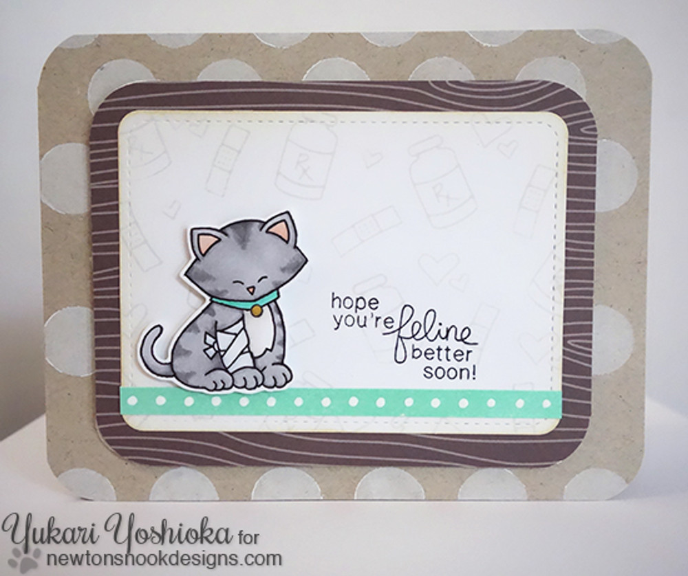 Get Well Cat Card | Newton's Sick Day | 4x6 photopolymer Stamp Set | © 2015 Newton's Nook Designs