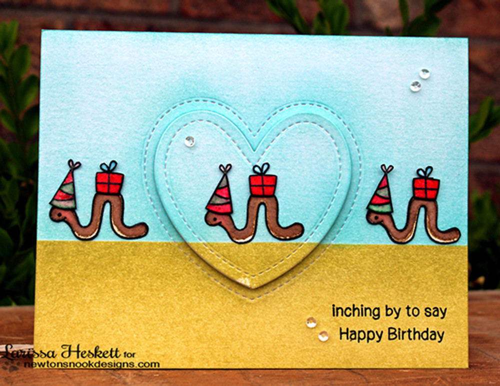 Inch Worm Birthday Card | In Slow Motion | 4x6 Photopolymer Stamp Set | Newton's Nook Designs
