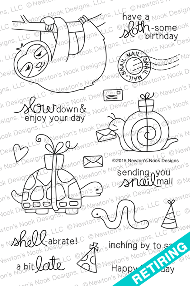 In Slow Motion | 4x6 Photopolymer Stamp Set | Newton's Nook Designs