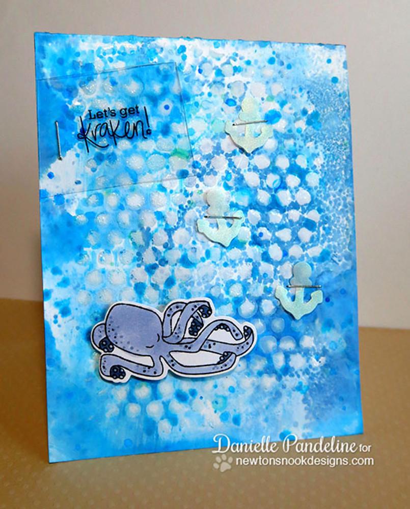 Kraken card | Message In A Bottle Stamp Set ©2015  Newton's Nook Designs