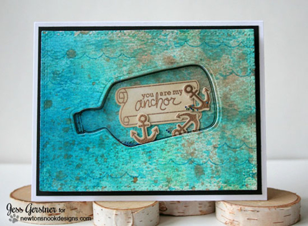 Bottle and Anchor Shaker Card | Message In A Bottle Stamp Set ©2015 Newton's Nook Designs