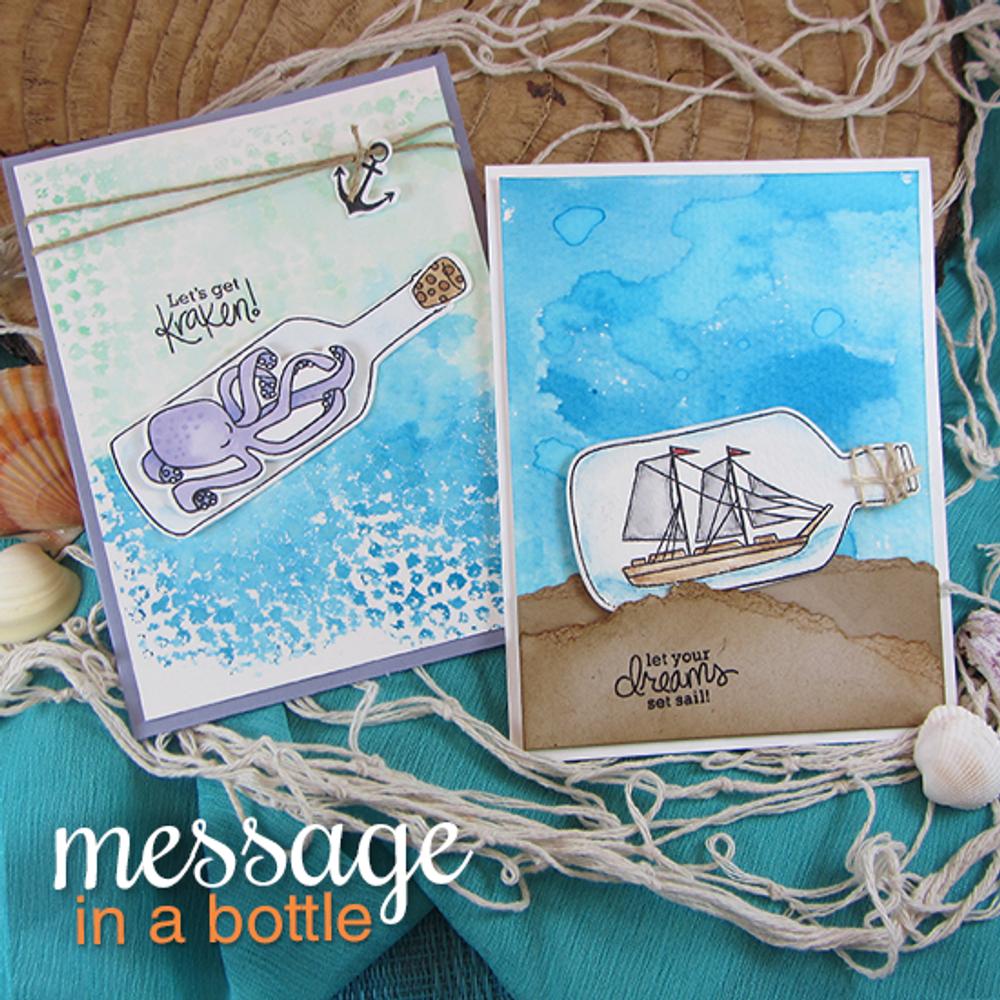 Kraken and Ship in a bottle cards | Message In A Bottle Stamp Set ©2015  Newton's Nook Designs