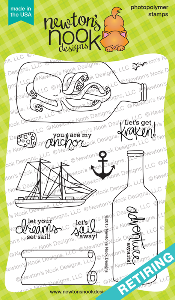 Message In A Bottle | 4x6 Photopolymer Stamp Set | ©2015 Newton's Nook Designs