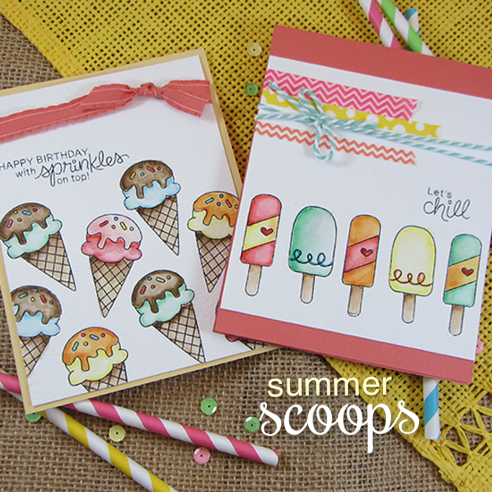 Ice Cream Friendship/Birthday Cards | Summer Scoops Stamp Set ©2015 Newton's Nook Designs