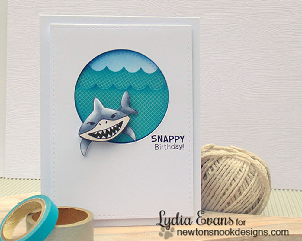 Snappy birthday card | Shark Bites Stamp Set ©2015 Newton's Nook Designs