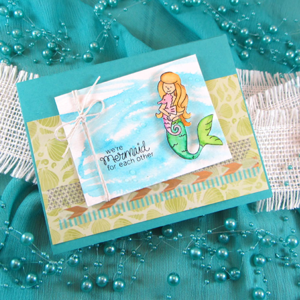 Mermaid Crossing | 3x4 Photopolymer Stamp Set | ©2015 Newton's Nook Designs