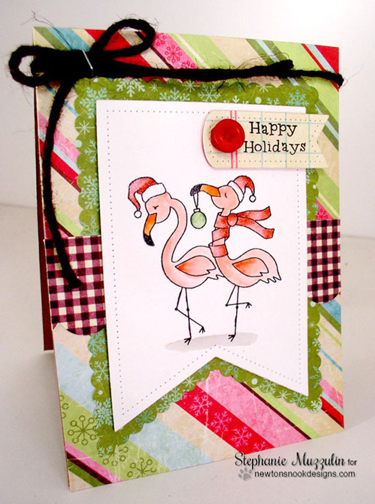 Festive Flamingos | 3x4 Photopolymer Stamp Set | ©2015 Newton's Nook Designs