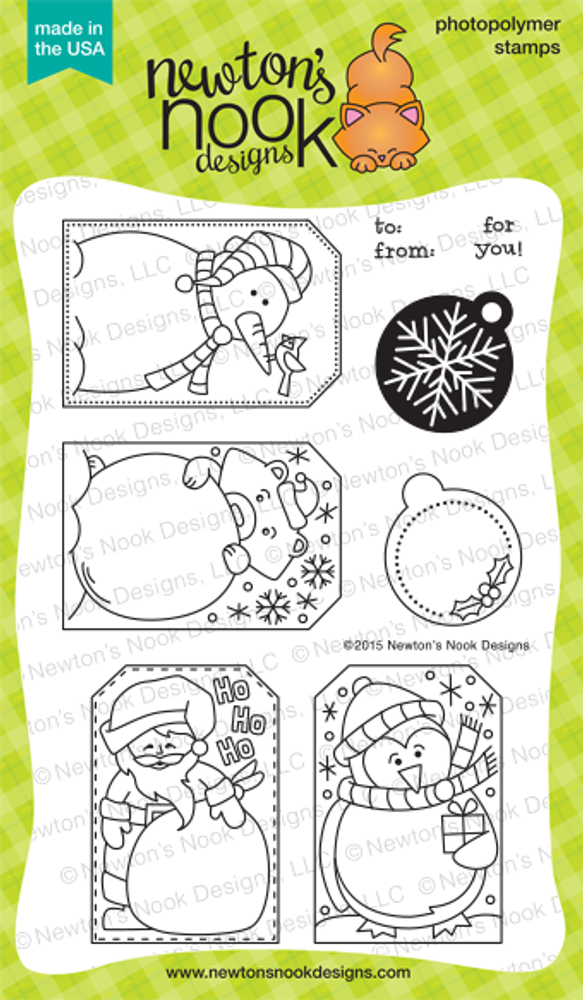Jolly Tags | 4x6 Photopolymer Stamp Set | ©2015 Newton's Nook Designs
