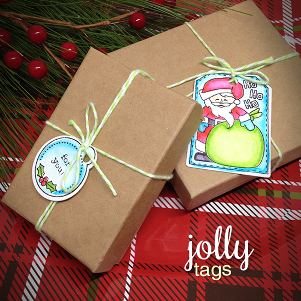 Santa Gift Tags | Jolly Tags | 4x6 Photopolymer Stamp Set | ©2015 Newton's Nook Designs