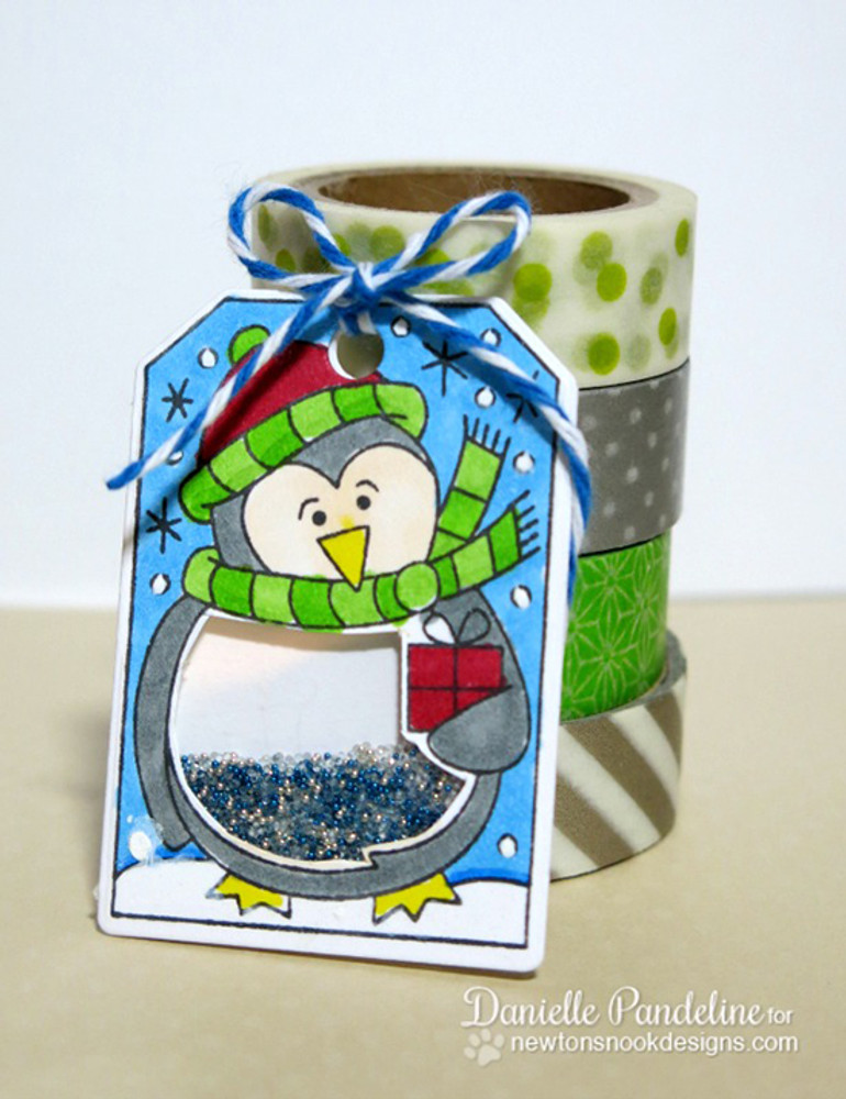 Shaker Penguin Tag | Jolly Tags | 4x6 Photopolymer Stamp Set | ©2015 Newton's Nook Designs