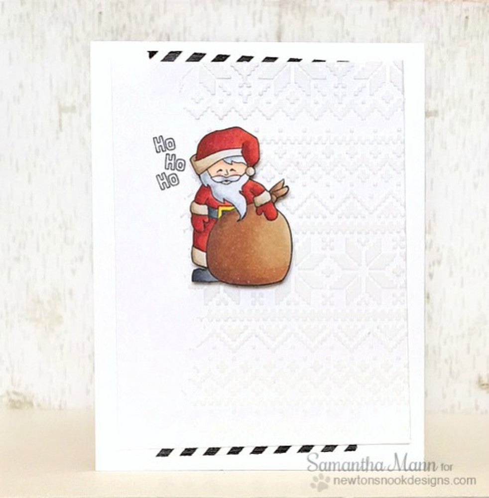Santa Card | Jolly Tags | 4x6 Photopolymer Stamp Set |  ©2015Newton's Nook Designs