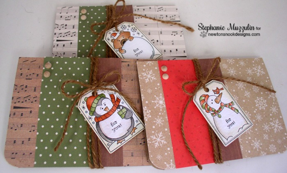 Set of Holiday Cards using Tags | Jolly Tags | 4x6 Photopolymer Stamp Set | ©2015 Newton's Nook Designs