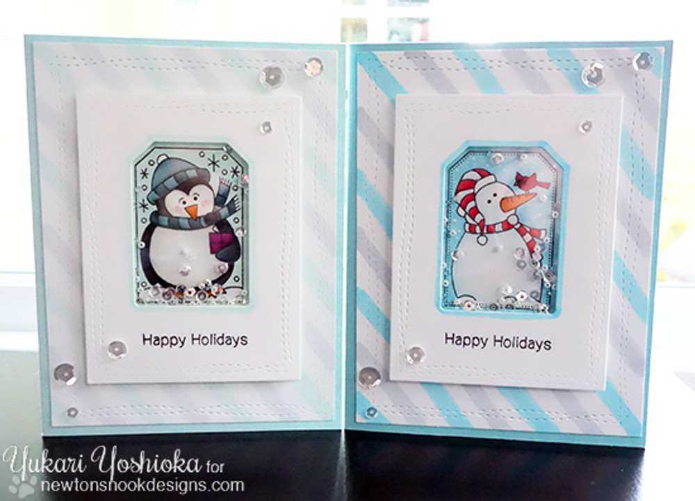 Set of Holiday Cards using Tags |Jolly Tags | 4x6 Photopolymer Stamp Set | ©2015 Newton's Nook Designs