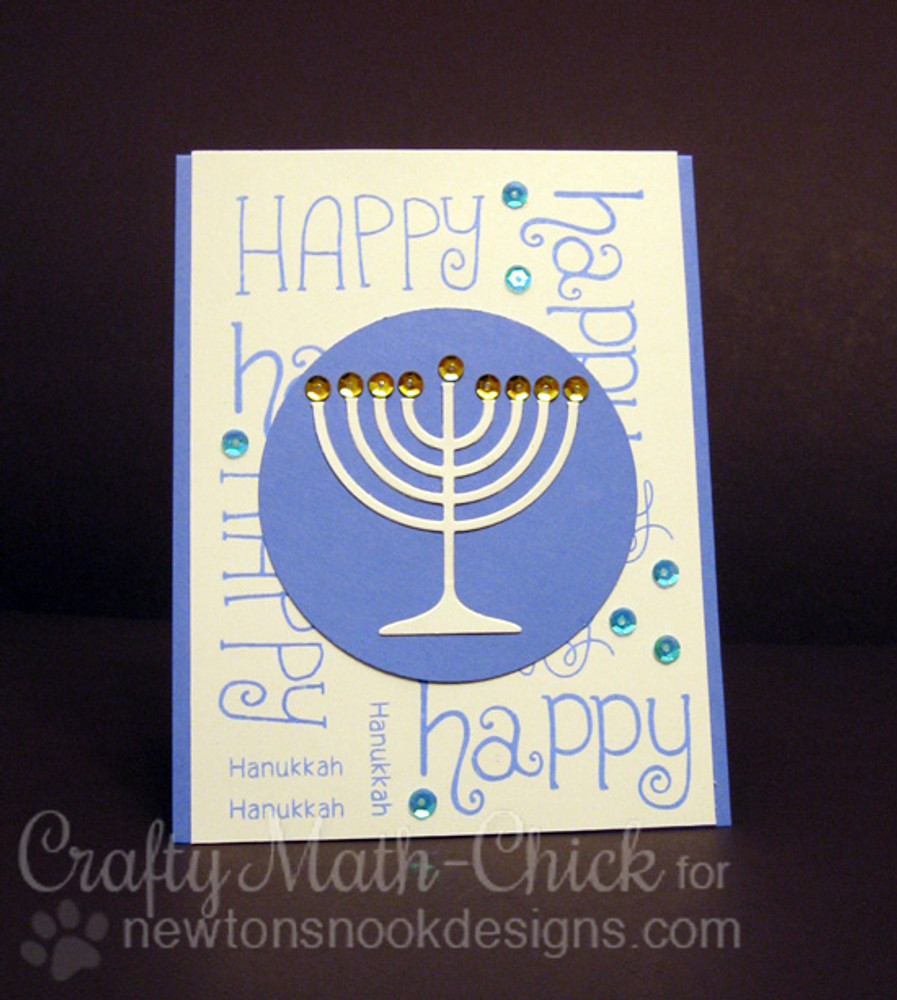 Happy Hanukkah Card | Simply Seasonal | 4x6 Photopolymer Stamp Set | ©2015 Newton's Nook Designs