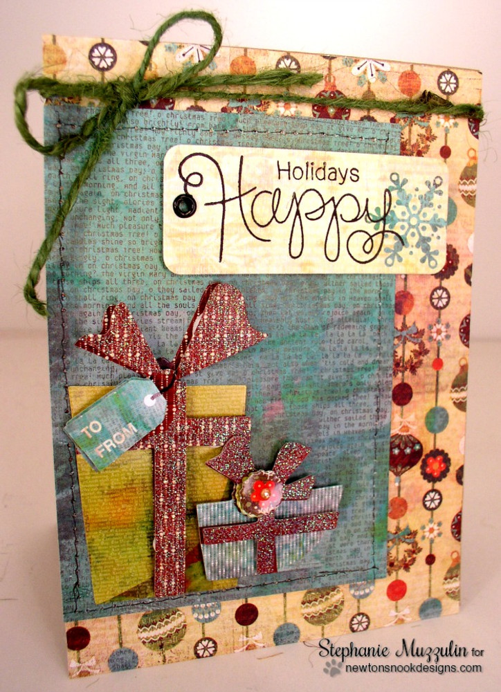 Happy Holidays Card | Simply Seasonal | 4x6 Photopolymer Stamp Set | ©2015 Newton's Nook Designs