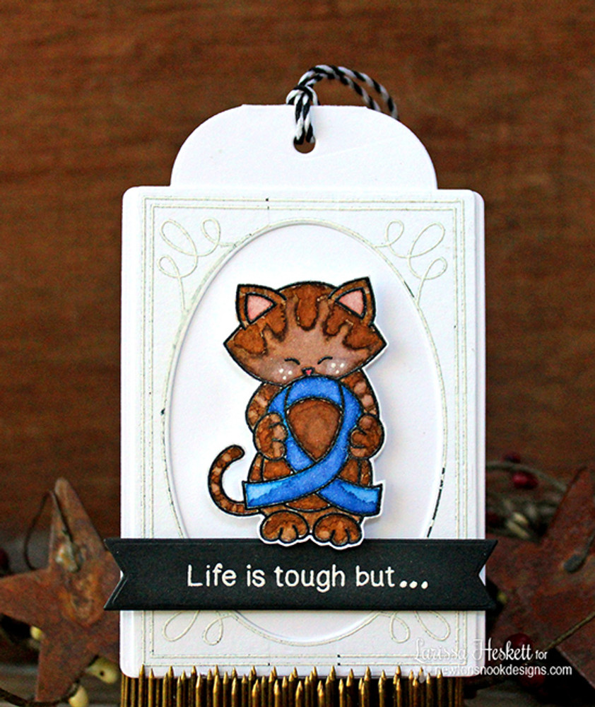 Blue Ribbon card using Newton's Support Stamp Set ©2016 Newton's Nook Designs