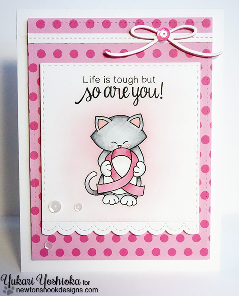Pink Ribbon card using Newton's Support Stamp Set ©2016 Newton's Nook Designs