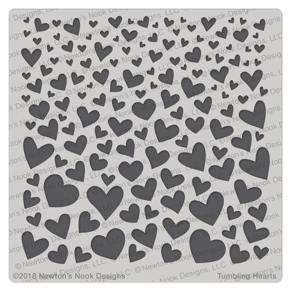 Tumbling Hearts Stencil ©2018 Newton's Nook Designs