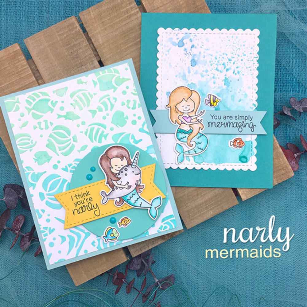 Narly Mermaids Stamp Set ©2018 Newton's Nook Designs