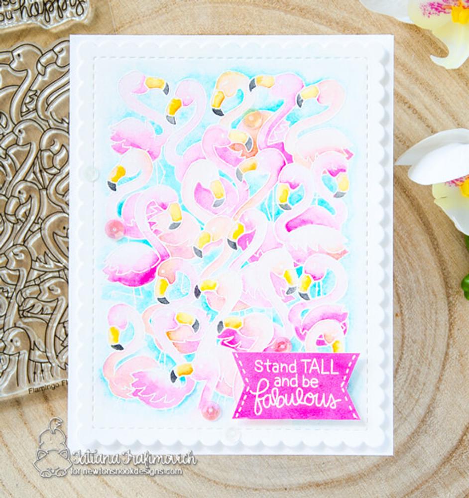 Flamingo Flock Stamp Set ©2018 Newton's Nook Designs