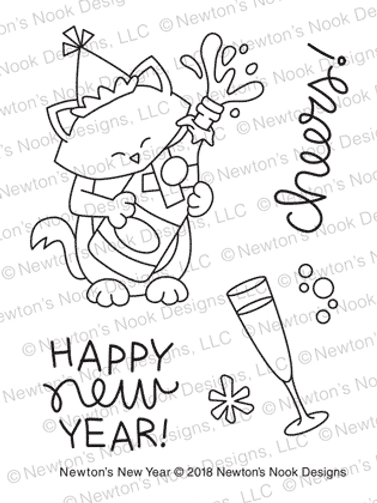 Newton's New Year Stamp Set ©2018 Newton's Nook Designs