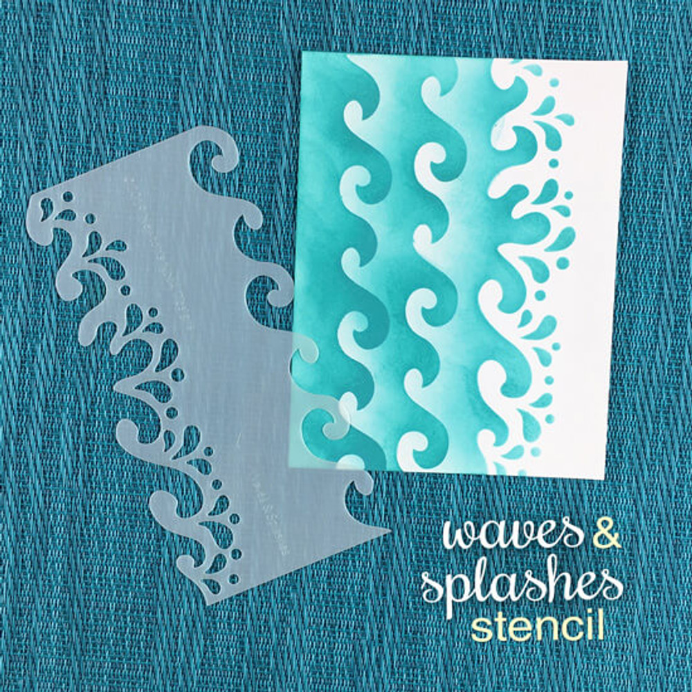 Waves & Splashes Stencil ©2019 Newton's Nook Designs