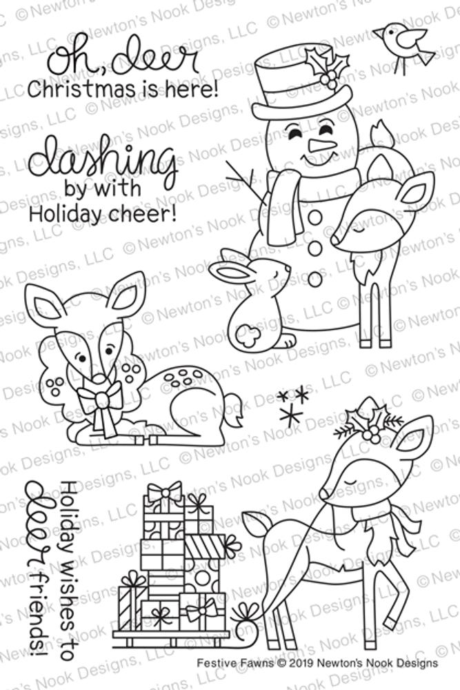 Festive Fawns Stamp Set ©2019 Newton's Nook Designs