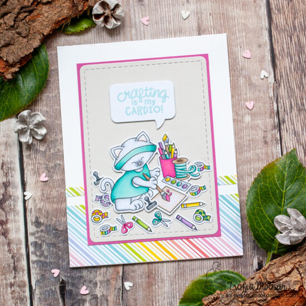 Newton's Crafty Cardio Stamp Set ©2020 Newton's Nook Designs