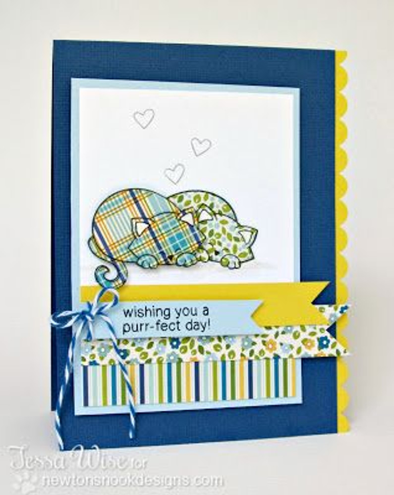 Purrfect day Cat Card | Newton's Antics Stamp set ©2013 Newton's Nook Designs