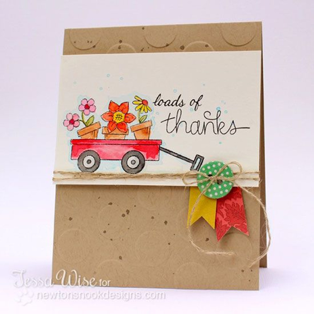 Thanks Flowers in Wagon Card | Wagon of Wishes Stamp Set © 2013 Newton's Nook Designs.