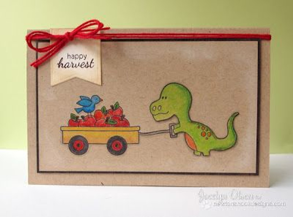 Happy Harvest Fall Wagon with Dino Card | Wagon of Wishes Stamp Set © 2013 Newton's Nook Designs.