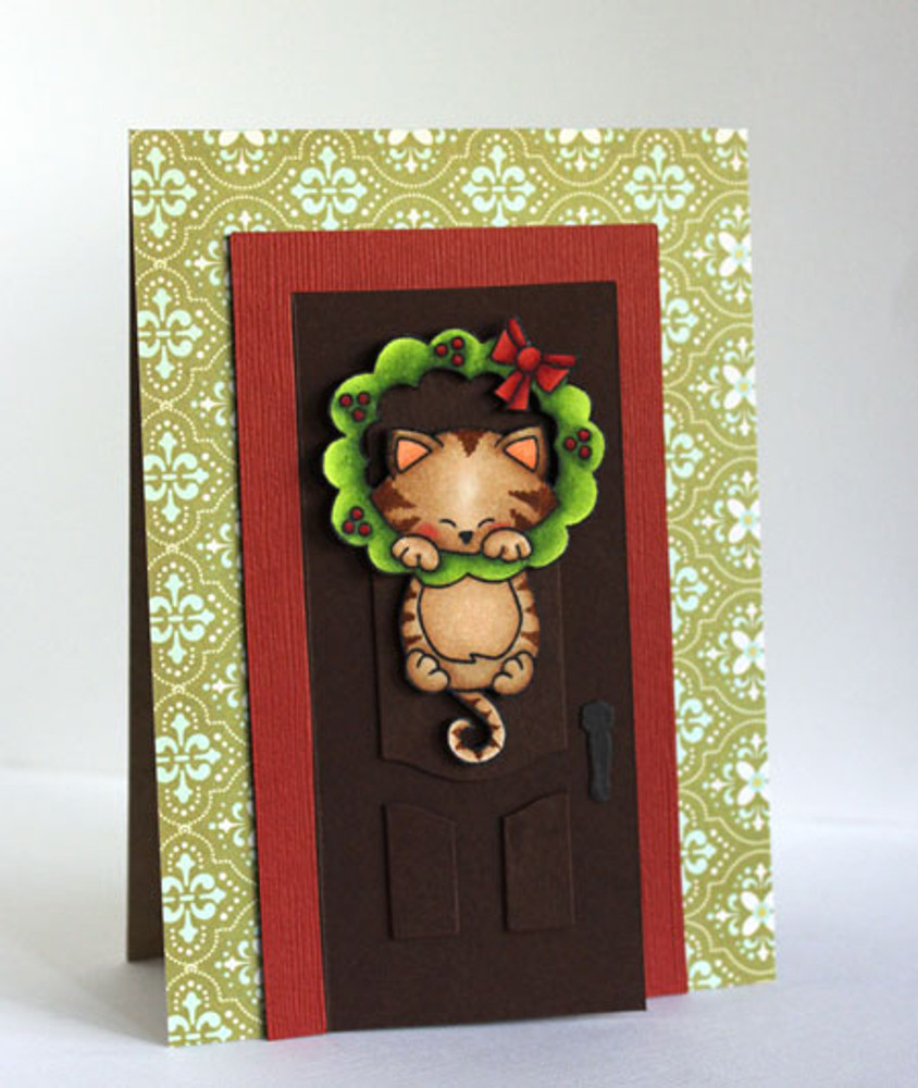 Kitty and wreath card | Newton's Holiday Mischief Stamp Set ©2013 Newton's Nook Designs