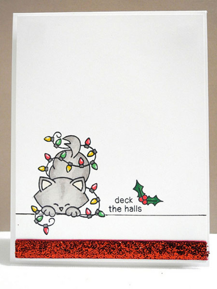 Cat in christmas lights Card | Newton's Holiday Mischief Stamp Set ©2013 Newton's Nook Designs
