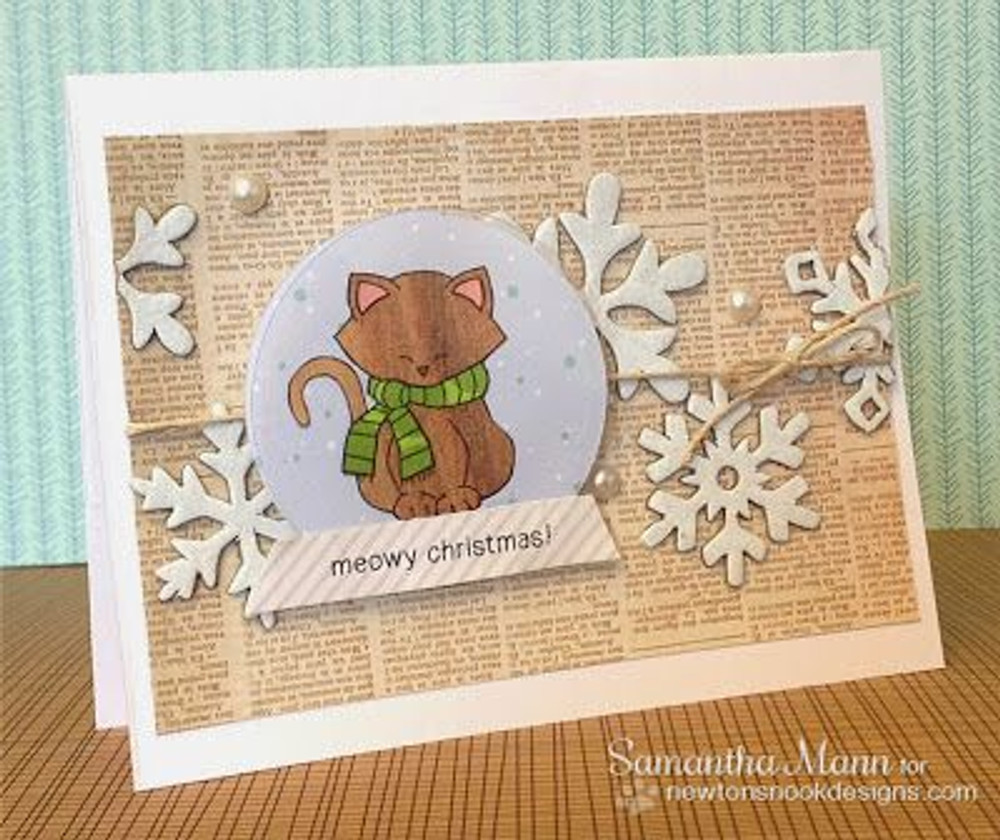 Kittyin snowglobe card | Newton's Holiday Mischief Stamp Set ©2013 Newton's Nook Designs