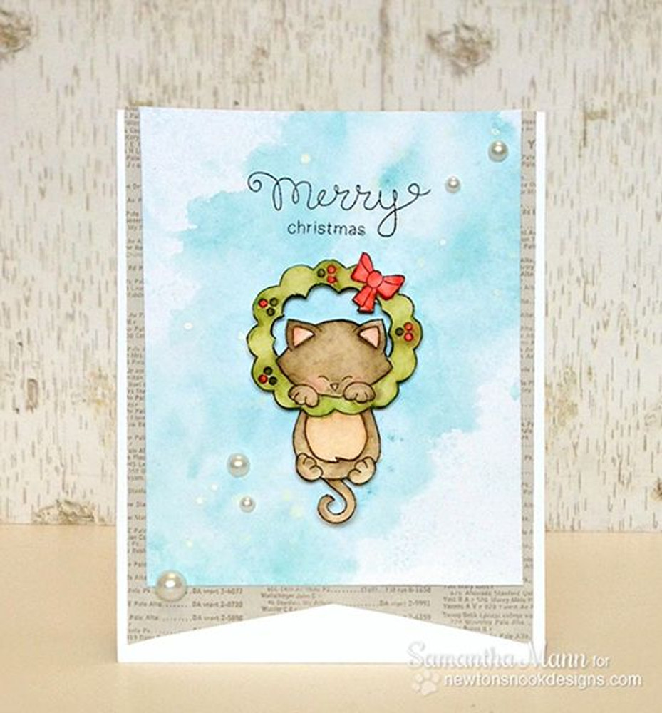 Kitty and Christmas Wreath Watercolor Card    Newton's Holiday Mischief Stamp Set ©2013 Newton's Nook Designs